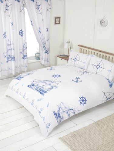 Nautical Boat Ship Lighthouse Design White Blue Bedding Duvet Quilt Cover Set